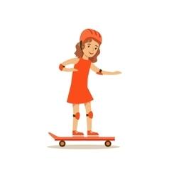 Girl Skateboarding Kid Practicing Different vector image vector image