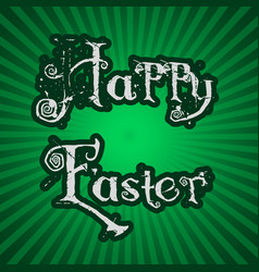 Happy easter text on green striped background vector