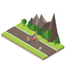 Isometric countryside summer road woman and man vector