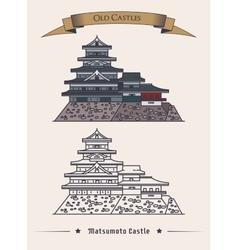 Japan hirashiros matsumoto castle exterior view vector