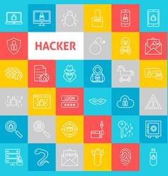Line hacker icons vector