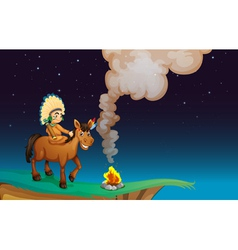 man and horse vector image vector image