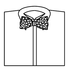 Monochrome contour with shirt and bow tie close up vector