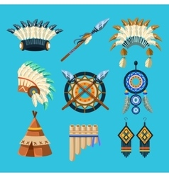 Native american indian culture set vector