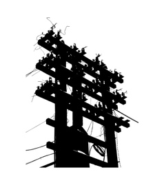 Old decrepit wooden telephone pole on white vector image