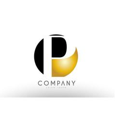p black white gold golden letter logo design vector image