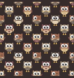 pattern with cute brown owls vector image vector image