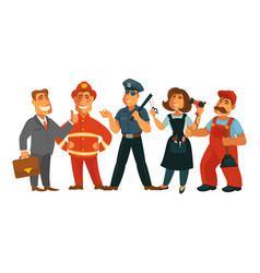 People professions fireman policeman businessman vector