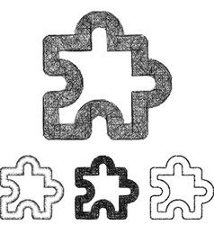 Puzzle icon set - sketch line art vector image vector image