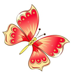Red butterfly isolated on white vector image vector image