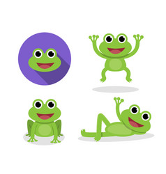 set of green frog in cartoon style vector image