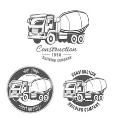 set of logos with concrete mixer truck vector image
