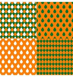 Set orange green water drops background vector
