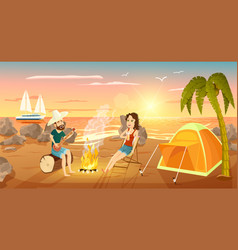 Summer tourist camp on beach near sea vector