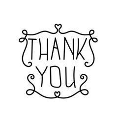Thank you the lettering hand drawn vector