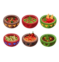 Traditional mexican soup collection vector