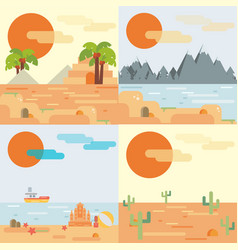 travel background set in flat style vector image vector image