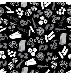 Types of pasta food black and gray pattern eps10 vector
