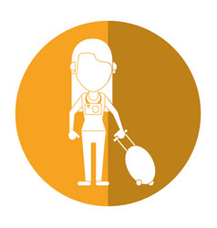 Woman tourist with camera and suitcase shadow vector
