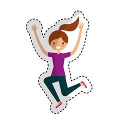 Young woman jumping character vector