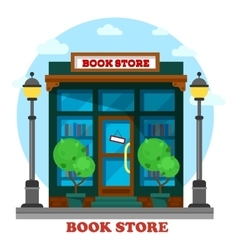 Book store or shop for paper reading outdoor view vector