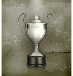 Silver cup old-style vector
