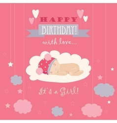 Baby theme it s a girl card vector