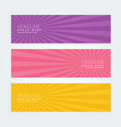 Set of three abstract banners with rays vector