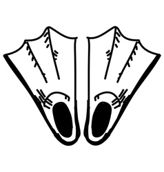 Swim fins sketch vector