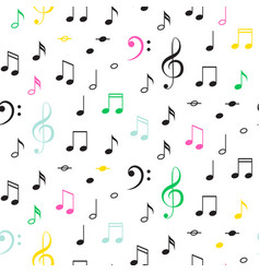 Music notes seamless monochrome pattern vector