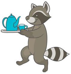 Cartoon raccoon carries tray of tea and teacup vector