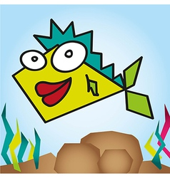 Geometric fish with seaweed background vector