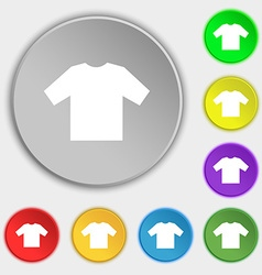 T-shirt icon sign symbol on five flat buttons vector