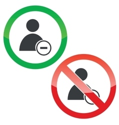 Remove user permission signs set vector