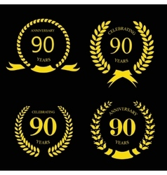 80 ninety years icon template for celebration and vector