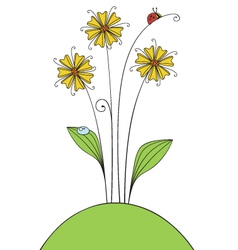 Flowers and ladybug vector