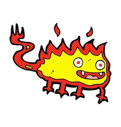 Comic cartoon little fire demon vector
