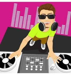 Male disc jockey mixing music using his turntables vector