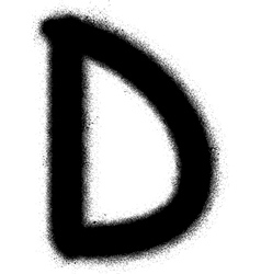 Sprayed d font graffiti in black over white vector