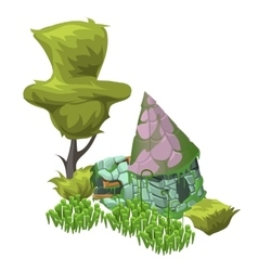 Tree grass and abandoned house in cartoon style vector