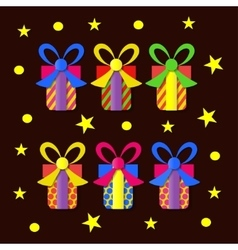 A set of colorful gift boxes vector image vector image
