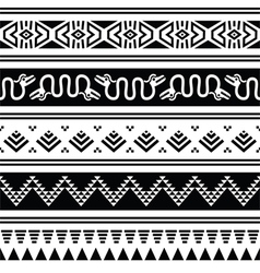 Aztec tribal seamless pattern with animals vector