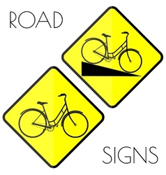 Bicycle yellow road signs vector image