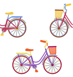 Bike with basket embroidery seamless pattern vector