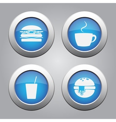 Blue metallic buttons set white fast food icons vector