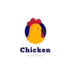 bright chicken head logo vector image vector image