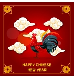 Chinese new year of rooster greeting card design vector