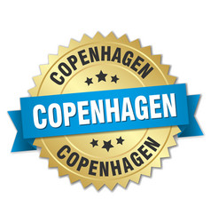 Copenhagen round golden badge with blue ribbon vector
