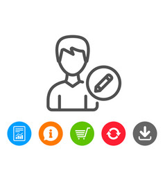 Edit user line icon male profile sign vector