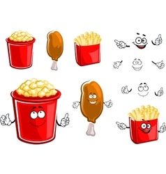 French fries chicken leg and popcorn vector image